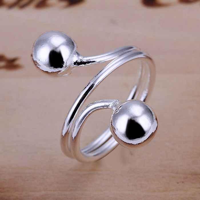 เงิน 925 แหวนแฟชั่นคู่ลูกปัดแหวนผู้หญิงเครื่องประดับเงินเครื่องประดับเงินแหวน SMTR037