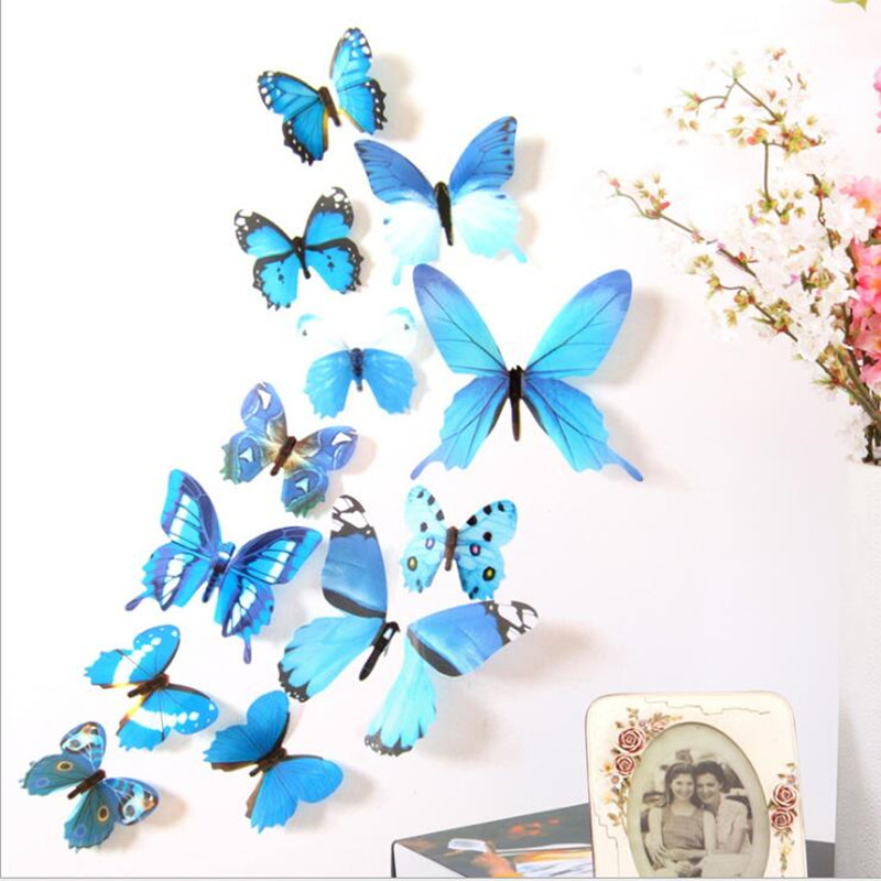 12 Pcs/Lot 3D Butterfly Wall Stickers Home Decor Wall Decals For Kids Room  TV Wall Stickers Kitchen Wall Sticker Flower