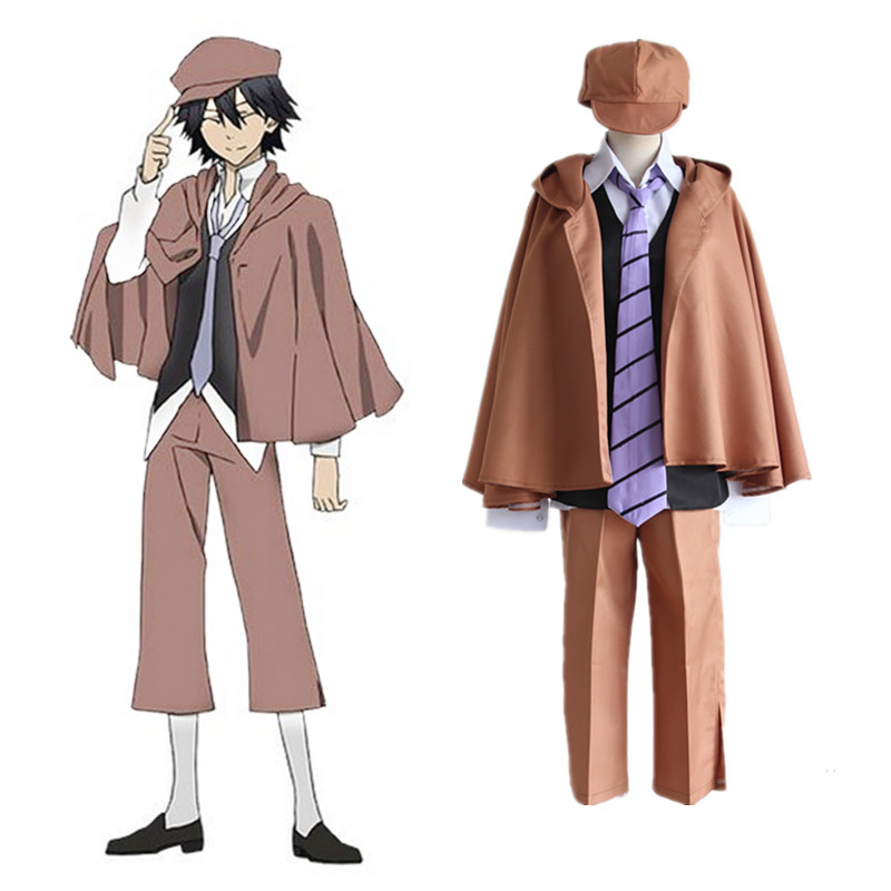 Anime Bungo Stray Dogs Detective Ranpo Edogawa Cosplay Costumes Vest Cloak Pants Tie Hat Uniform Suit