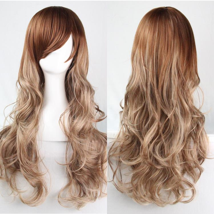 70cm Harajuku Cosplay Wig Female Male Fashion Sexy Women Costume Party Long Curly Synthetic Hair Ombre Blonde Wigs Peruca Peruke