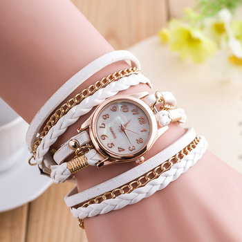 2019 New Brand Winding Bracelet Watch Zegarek Damski Women Casual Dress Watches Vintage Leather Ladies Quartz Wristwatches