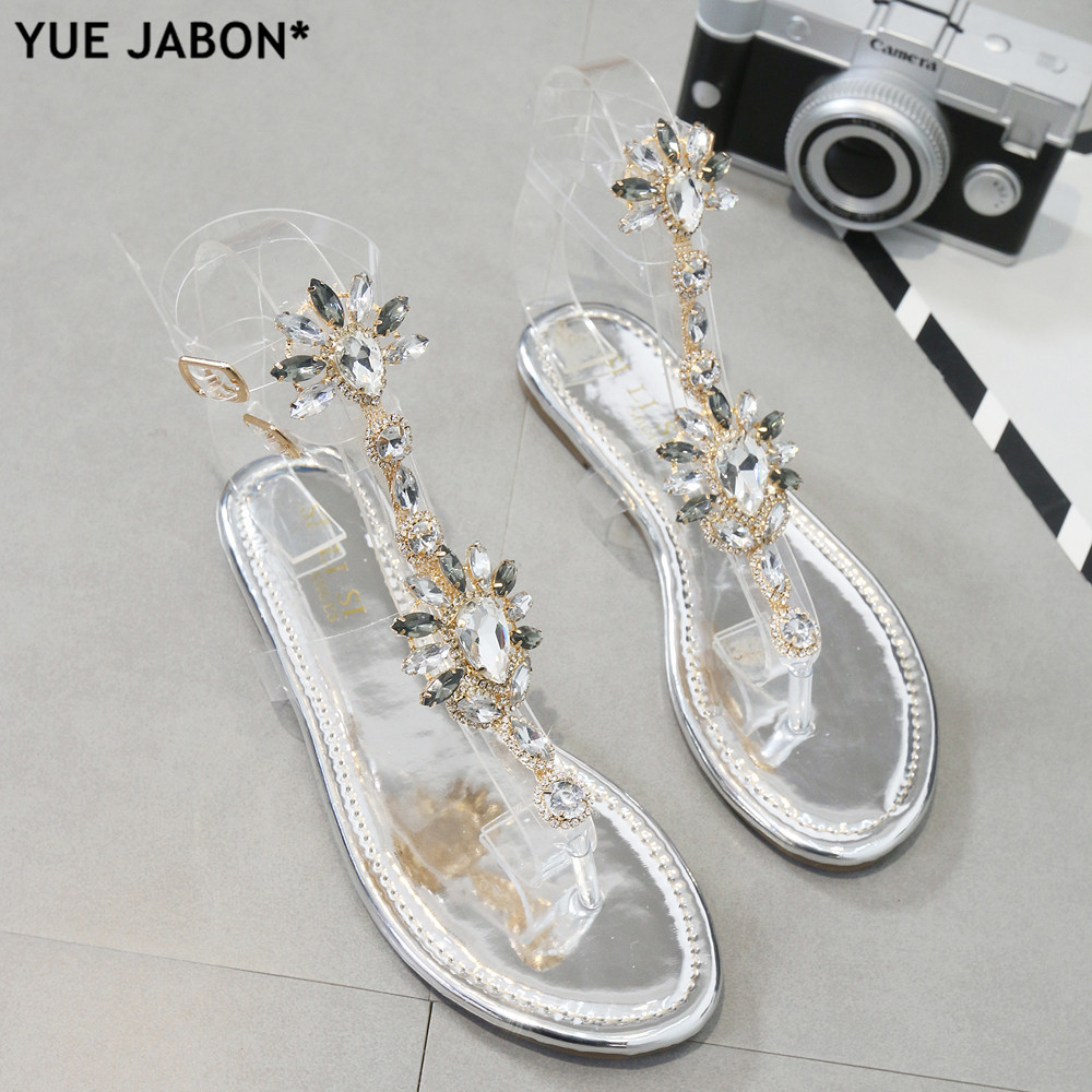 Sliver Woman Sandals Rhinestones Chains T-strap Comfortable Flat Crystal Sandals T-strap Thong Crystal Flip Flops Drop Shipping