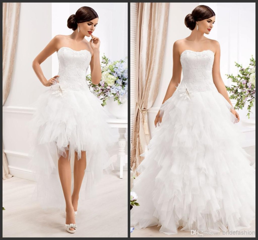 2015 sexy a line strapless wedding dress tulle knee length detachable skirt wedding dresses two pieces