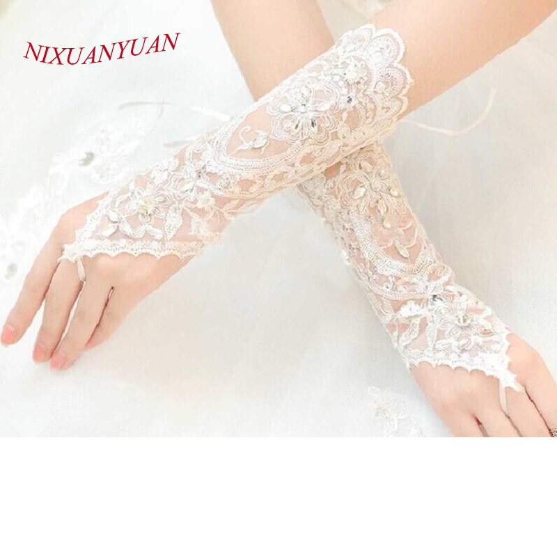 Free Shipping Bridal Gloves White Lace Sequins Beads Short Lace Wedding Gloves Standard Size 2016