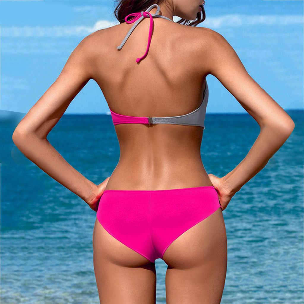 セクシーなビキニ女性水着ハイウエスト水着はプッシュアップビキニセット Pachwork プラスサイズ水着ビーチウェア #1 815
