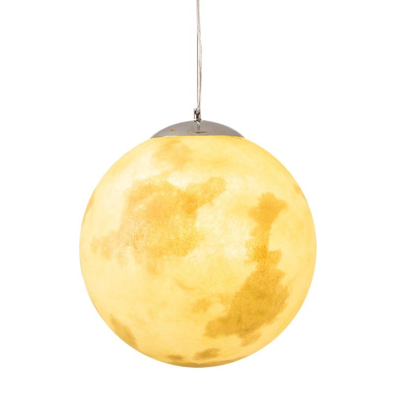 Nordique Simple Pleine Lune Pendentif Lampe Creative Rétro Personnalité Art Balle Lune Lanière Suspendus Lampe Lune Droplight