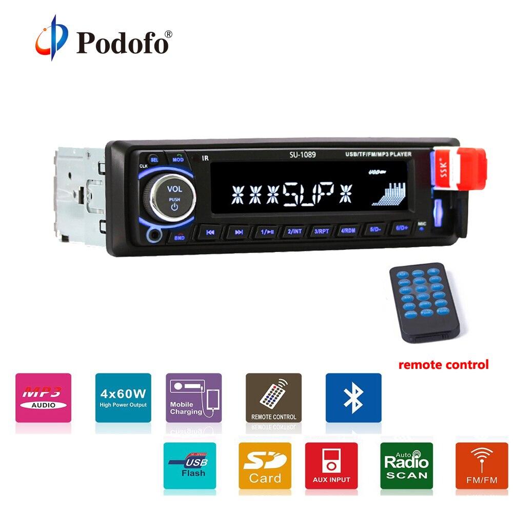 Podofo Car Radio 1Din 12V Auto Audio Stereo Support Bluetooth FM SD USB BT MP3 Player Hands free Call + Remote Control
