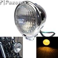 "Motocicleta 4 5 ""estilo Bates faro 4 1/2"" H4 faro cabeza luz para Harley vieja escuela Bobber Chopper personalizado cromo faro headlights for -"