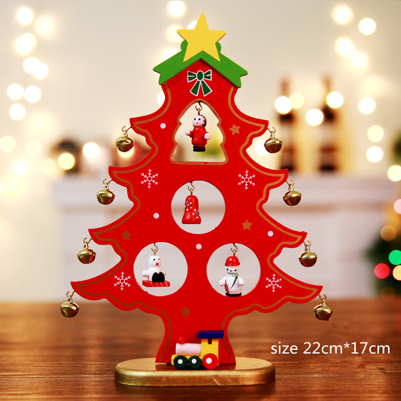 Wood Christmas Tree Desktop Diy Mini Christmas Tree Artificial Ornaments Scene Window Display Christmas Decorations For Home