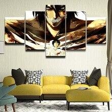 купить Canvas Paintings Wall Art Decor 5 Pieces Attack on Titan Eren Yeager Pictures HD Prints Anime Poster Home Decorative Framework по цене 398.6 рублей