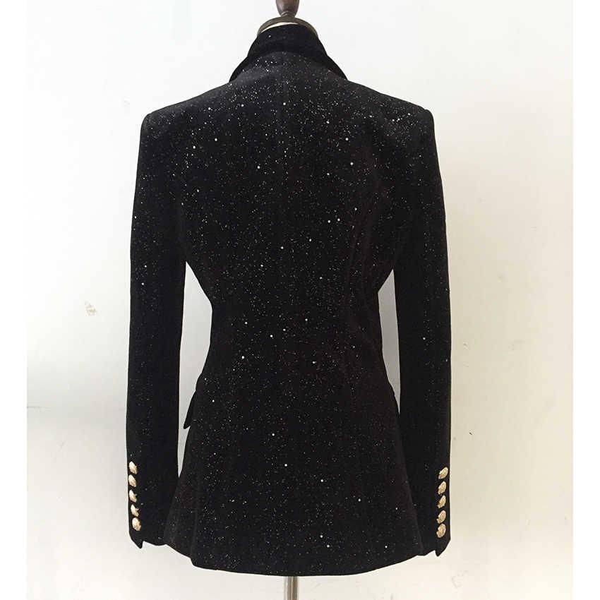 YÜKSEK SOKAK Yeni Barok Moda 2019 Tasarımcı Blazer Ceket Kadın Şal Yaka Bling Yıldız Kadife Blazer Ceket