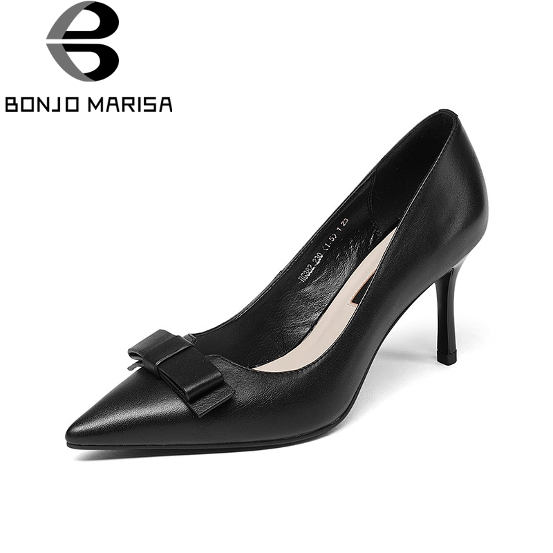 BONJNOMARISA 2018 Spring Autumn Cow Leather Elegant Bow Women Pumps High Thin Heels Shallow Ol Shoes Woman Pointed Toe Shoes lapolaka cow genuine leather mix color spring summer pointed toe women shoes pumps thin high heels shoes woman