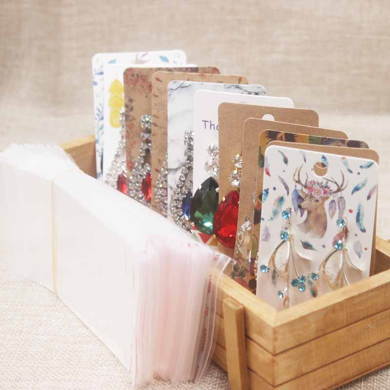100pcs/1lot 5cm*9cm Krafta&white Paper Jewelry Cards 35 Colors Stud Earrings Display Packing Cards Custom LOGO Your Own MOQ1000p