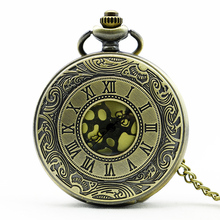 Antique Roma Number Pocket Watch Vintage Alloy Steampunk Bronze Necklace Pendant Chain relogio de bolso Gift Quartz Watch
