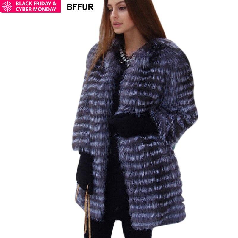 BF Мех животных для женщин зимние натуральный Лисий пальто Новинка 2018 года дамы толстые теплые средней длины женский мех куртк