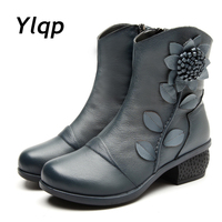 New Winter Boots Handmade Folk Style Tube Thick With Leather Shoes Ladies Cotton