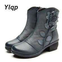 Handmade ข้อเท้ารองเท้าหนังแท้รองเท้า รองเท้าบู๊ต รองเท้าผู้หญิงสุภาพสตรีรองเท้าหนัง