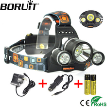 Boruit 6000Lm  XML T6 R2 LED Headlight 4-Mode Rechargeable Headlamp Head Lamp Light for Camping Torch Lantern by 18650 Battery