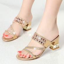 купить Fashion Women Slippers Slip On Mules Open Toe Med Heel Women Shoes Summer Gold Sandals Brand Slipper Wedding Shoes XMX-A0032 по цене 2493.99 рублей