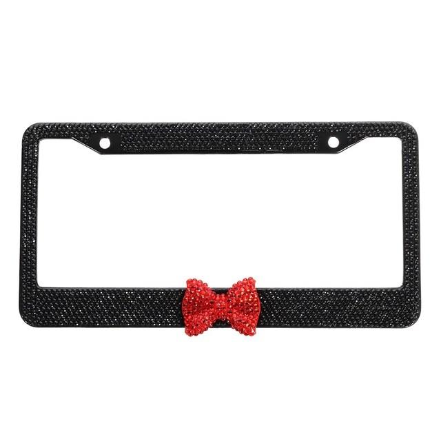 Black Bling Glitter Crystal RhineStone License Plate Frame Car Auto ...