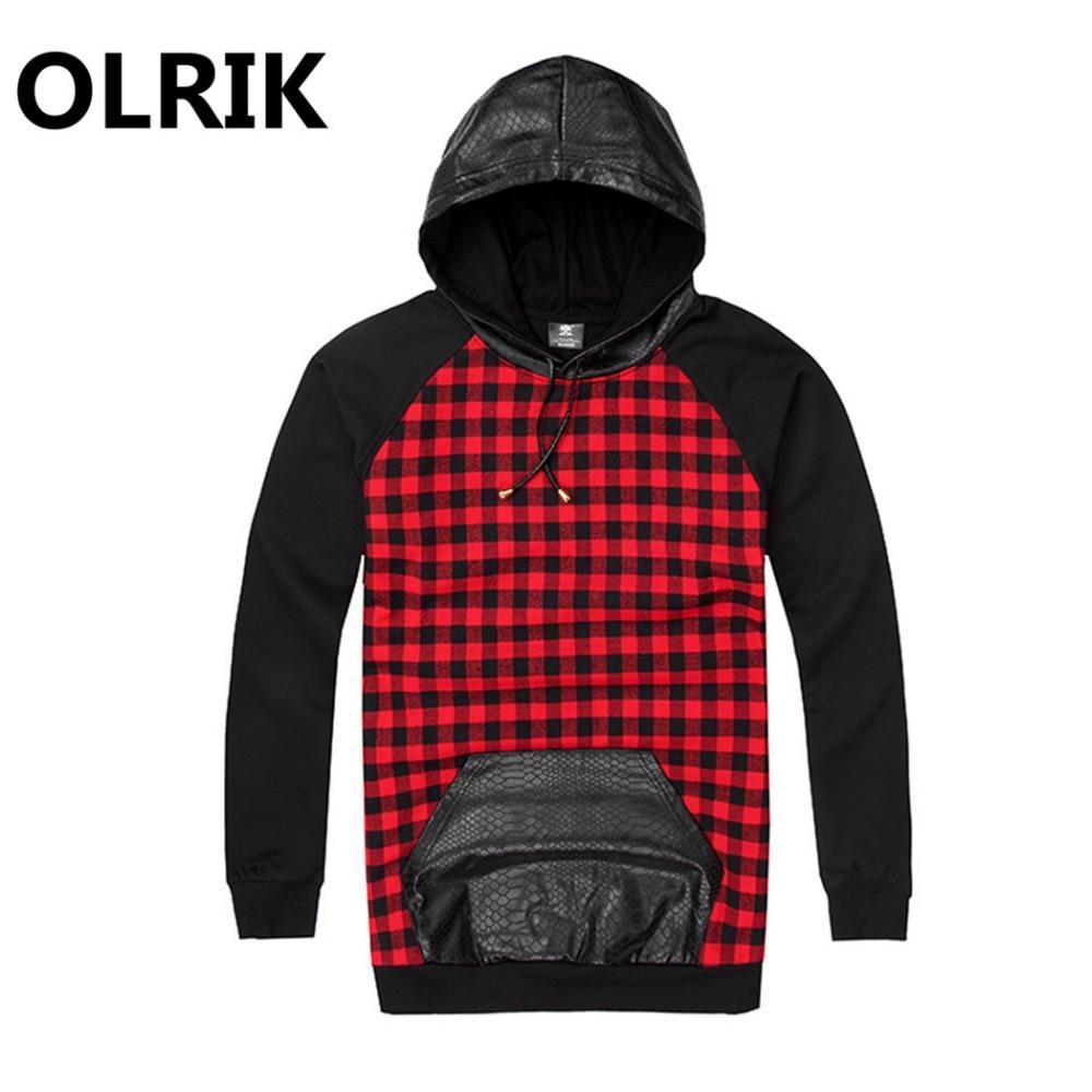 Black Red Tartan Plaid Scottish Mens Sweatshirts Hooded Hoodie