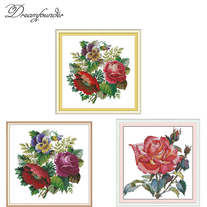 A brilliant mountain flower  cross stitch kit aida 14ct 11ct count print canvas stitches embroidery DIY handmade needlework