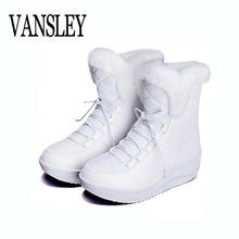 Hot Sale Women Snow Boots Winter Solid Slip-on Soft Cute Women Swing Snow Boots Round Toe With Fur Ankle Boots Shoes Botas Mujer