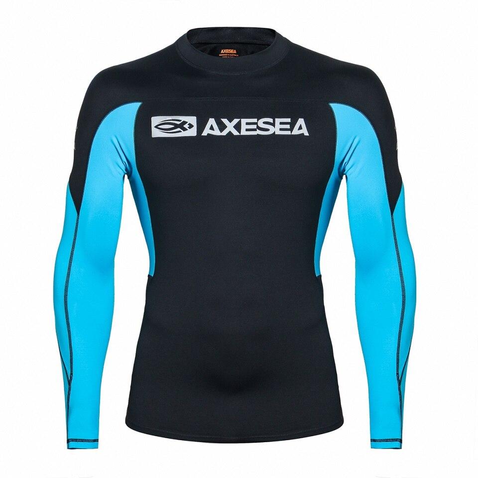 a4cc6ab1de US $26.09 10% OFF|AXESEA Men Swimsuit Long Sleeve Rashguard Sun Protection  Swimwear UV Patchwork Surfing Shirt Top UPF50+ Rash Guard Swimming Suit-in  ...