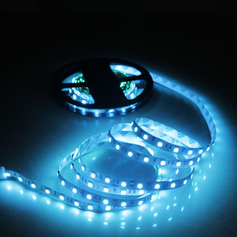 SMD 5050 DC12V 5m LED Strip Waterproof Flexible Light 60LEDs/m Ice Blue/Pink/Golden Yellow (A5) super slim 45 led 90cm dc12v soft smd light strip yellow led