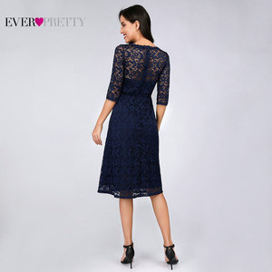 Image 2 - Navy Blue Lace Cocktail Dresses Ever Pretty EZ07665NB See Through Half Sleeves Knee Length vestidos mujer 2020 cocktail Elegant