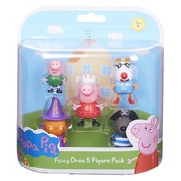 Genuine Peppa Pig Pack of 5 Peppa Pig Fancy Dress Figures (Peppa, Danny, Pedro, Candy + George) kids toy free shipping new