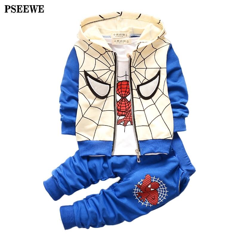 3pcs suit for boys clothes <font><b>Spider</b></font> <font><b>Man</b></font> Hooded sportswear Baby boy set children clothing Autumn long sleeved <font><b>1-3</b></font> y kids suit