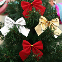 12pcs Christmas Tree Ornaments Decoration Bows Childrens Birthday Gifts Festival Party Supplies