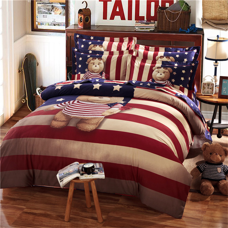 teddy bear bedding set kids king size queen twin cartoon. Black Bedroom Furniture Sets. Home Design Ideas