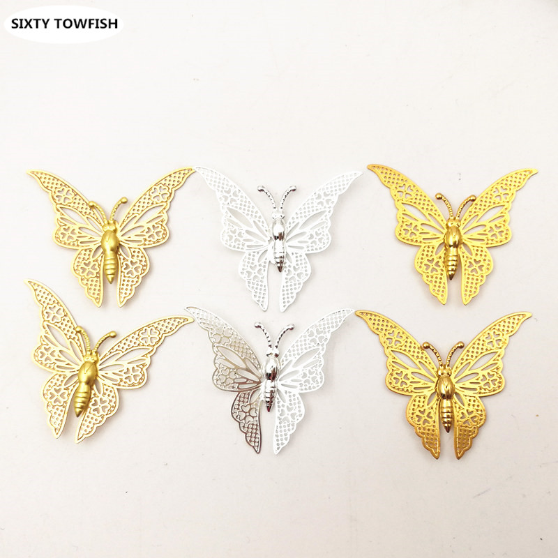 20 pieces/lot Size 35*32mm Butterfly Brass Antique Bronze/Gold Color Filigree Charms Setting Jewelry DIY Components B10054