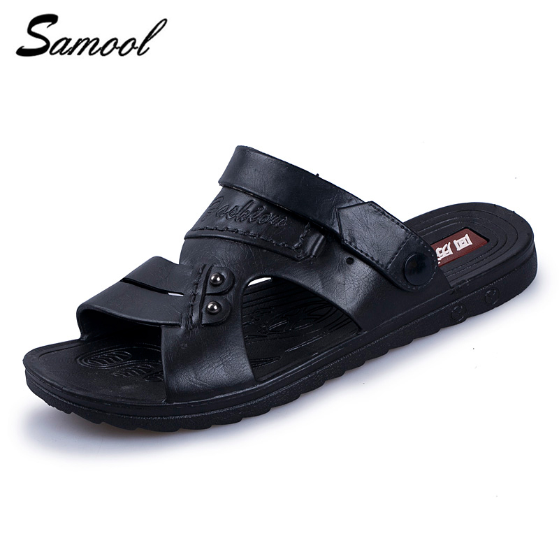 Luxury Brand 2018 Summer Men Outdoor Beach Sandals leather Casual Slippers Male Flat Flip Flops Shoes For Men zapatos hombre M3