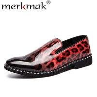 Merkmak Leopard Skin Leather Loafers Men's Summer Slip On Comfortable Men Dress Shoes Casual Large Size 38 44 Party Male Flat