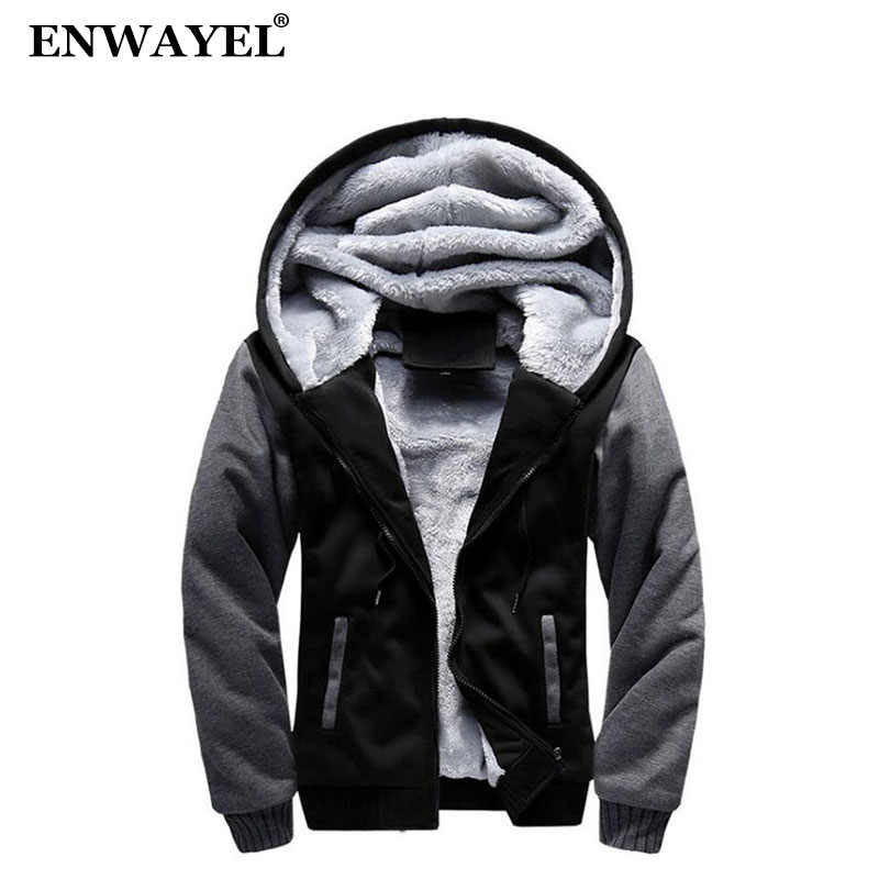 ENWAYEL 2018 Autumn Winter With Fur Hooded Casual Jackets Men Coat Fashion Thick Velvet Warm Male Jacket Korean Patchwork W02