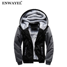 ENWAYEL 2018 Autumn Winter With Fur Hooded Casual Men Coat Thick Velvet Warm Male