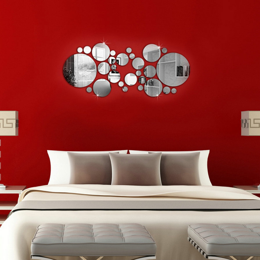 28pcs Simple 3D Wall Stickers, DIY Home Decoration Round Mirror Surface Removable Decal Art Mural Wall Sticker Home Decor Newest