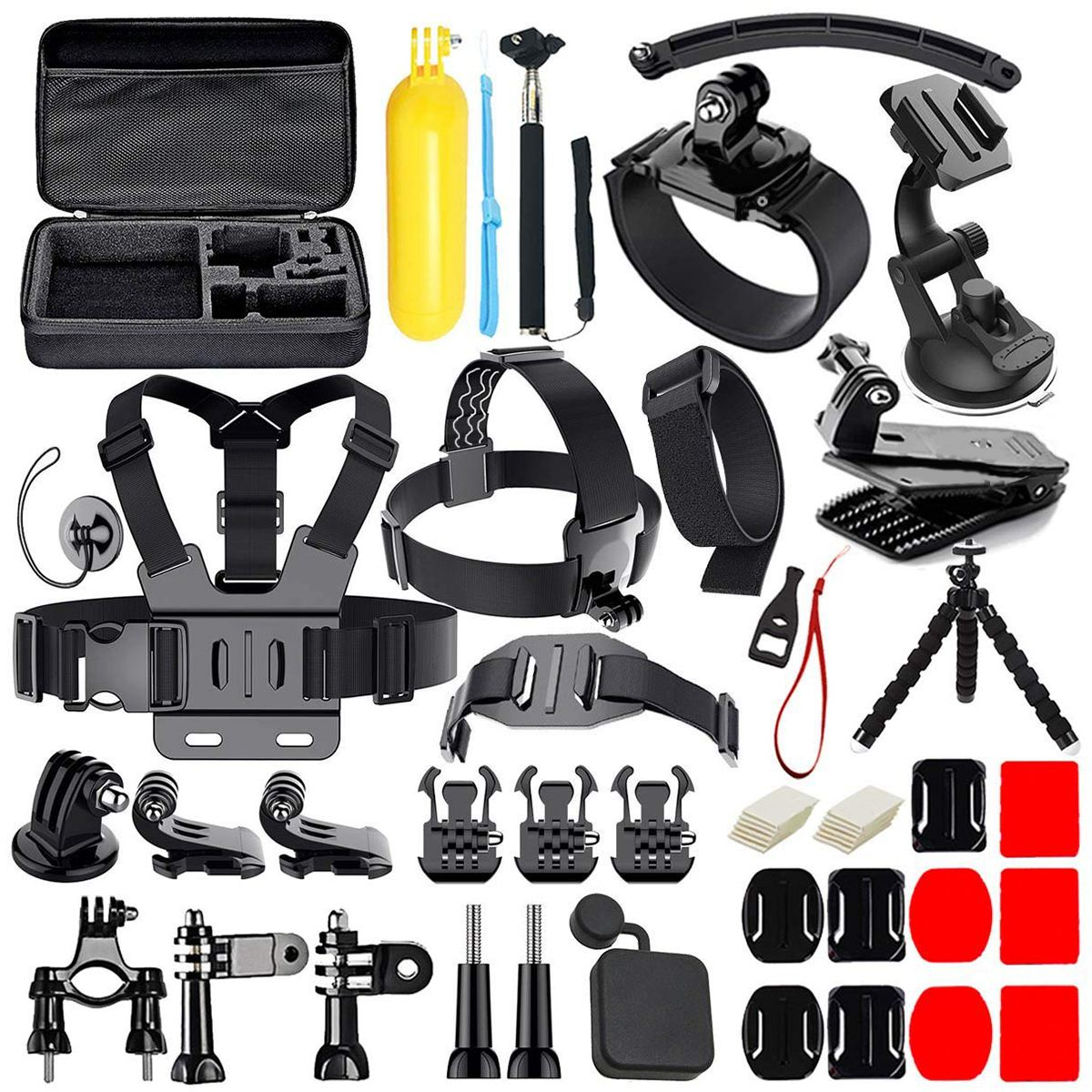 50 in 1 Action Camera Accessories Kit for GoPro Hero 2018 GoPro Hero6 5 4 3 Carrying Case/Chest Strap/Octopus Tripod|Sports Camcorder Cases| |  - title=