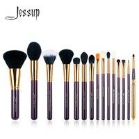 Jessup Набор 15 шт. фиолетовый/Золотой набор кистей для макияжа косметическая кисточка Кисть для макияжа Пудра основа тени для век подводка для ...