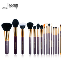 ジェサップセット 15 個パープル/ゴールド化粧ブラシツールブラシパウダーファンデーションリップ