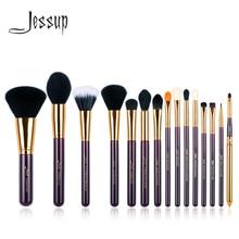 Jessup Juego de brochas de maquillaje, 15 Uds., púrpura/dorado, herramienta cosmética, brocha de maquillaje, base en polvo, sombra de ojos, delineador de ojos y labioscosmetic toolsbrush toolmakeup brush set