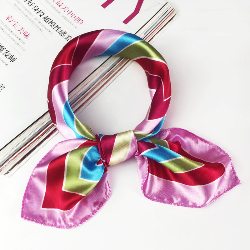 38Styles Elegant Women Girls Bandanas Square Printing Silk Scarf Korean Style Satin Scarves OL Neckerchief Neck Accessories