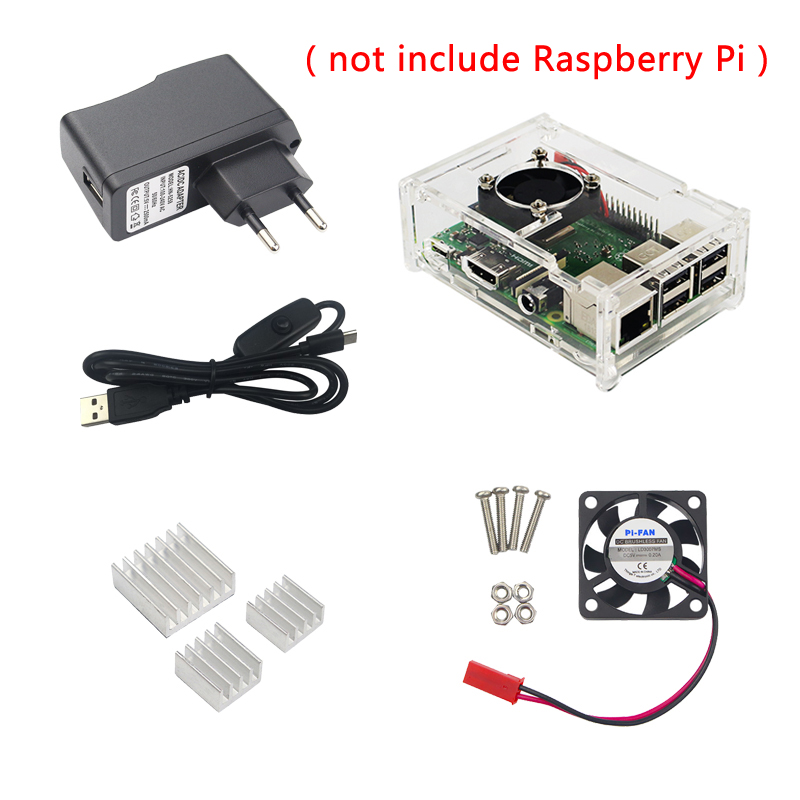 2018 Raspberry Pi 3 Model B+ Plus Acrylic Case+Cooling Fan+Heat Sink+5V 2.5A Power Charger Cable with Switch for Raspberry Pi 3 цены