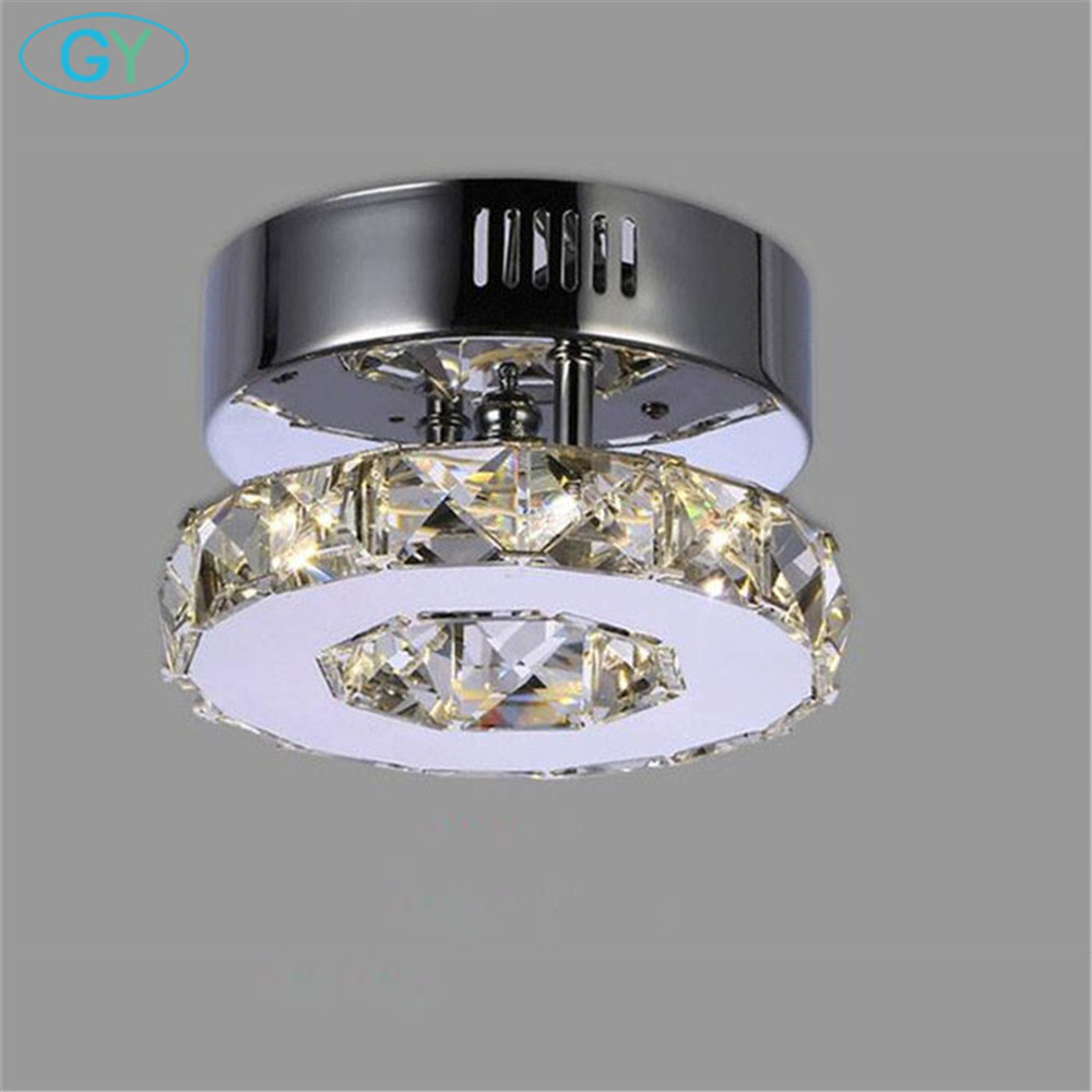 2018 New ring 10W led crystal chandelier D15cm kitchen balcony living room ceiling mounted mini lustres light for home
