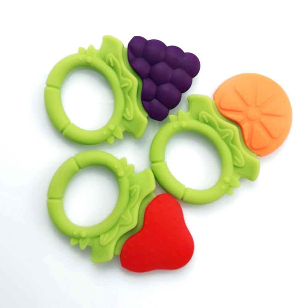 Baby Teethers Fruit Silica Gel Teething Toy Infant Pacifier Gum Tooth Stick Food Grade Dental Care Soft Molar Chew Toy New