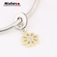 Authentic 925 Sterling Silver Gold Color Lace Flower Dangle Charms Fit Pandora Bracelets Jewelry