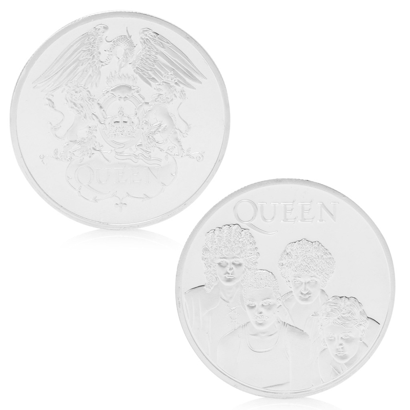 Queen British Rock Band Silver Plated Commemorative Coin Token Collectible Gift New Quality image